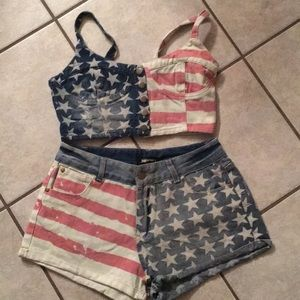 Denim two piece American flag set